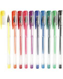 Gel kulspetspennor, spets 0,8 mm, mixade färger, 10 mix./ 1 förp.