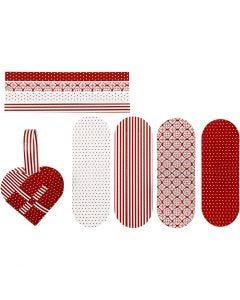 Flätade hjärtan, stl. 14,5x10 cm, 120 g, röd, vit, 8 set/ 1 förp.