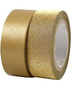 Washitejp, B: 15 mm, guld, 2 rl./ 1 förp.