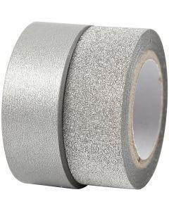 Washitejp, B: 15 mm, silver, 2 rl./ 1 förp.