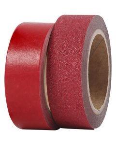 Washitejp, B: 15 mm, röd, 2 rl./ 1 förp.