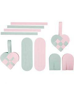 Flätade hjärtan, stl. 14,5x10 cm, 120 g, 8 set/ 1 förp.