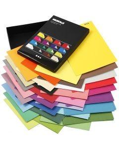 Färgad kartong, A4, 210x297 mm, 100 g, mixade färger, 16x100 ark/ 1 förp.