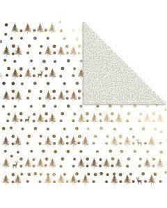 Designpapper, hjortar och prickar, 30,5x30,5 cm, 180 g, guld, 3 ark/ 1 förp.