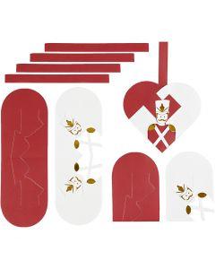 Flätade hjärtan, stl. 12,5x11,5 cm, guld, röd, vit, 8 set/ 1 förp.