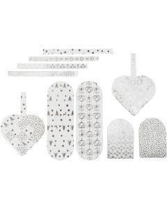 Flätade hjärtan, stl. 12,5x11,5 cm, 120 g, silver, vit, 8 set/ 1 förp.