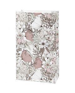 Papperspåsar, H: 21 cm, stl. 6x12 cm, 80 g, beige, brun, rosa, vit, 8 st./ 1 förp.