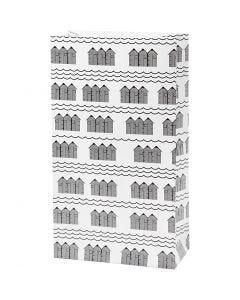 Papperspåsar, H: 21 cm, stl. 6x12 cm, 80 g, svart, vit, 8 st./ 1 förp.