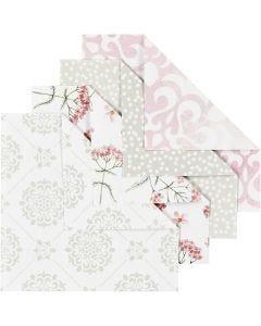 Origamipapper, stl. 10x10 cm, 80 g, grön, grå, ljusröd, vit, 40 ark/ 1 förp.