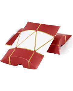 Presentask, trumma, stl. 14,9x9,4x2,5 cm, 300 g, guld, röd, vit, 3 st./ 1 förp.