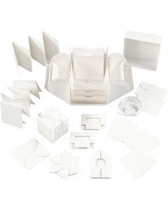 Exploding Box, stl. 7x7x7,5+12x12x12 cm, råvit, 1 st.