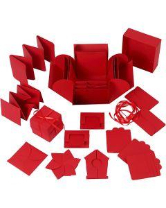 Exploding Box, stl. 7x7x7,5+12x12x12 cm, röd, 1 st.