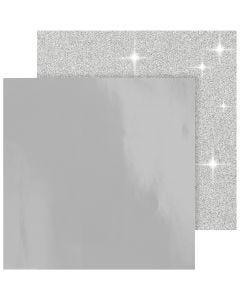 Designpapper, 30,5x30,5 cm, 120+128 g, silver, 2 ark/ 1 förp.