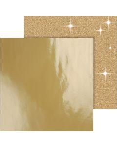 Designpapper, 30,5x30,5 cm, 120+128 g, guld, 2 ark/ 1 förp.