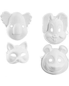 Masker, H: 17-25 cm, B: 18-24 cm, vit, 4x3 st./ 1 förp.