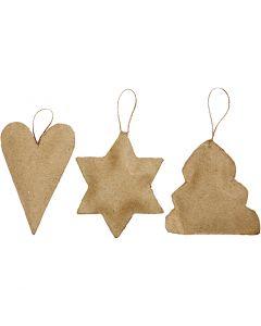 Juldekorationer, hjärta, stjärna och julgran, stl. 8-9 cm, 9 st./ 1 förp.