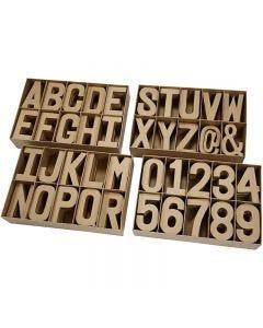 Bokstäver, siffror och symboler av papp, H: 20,50 cm, tjocklek 2,5 cm, 160 st./ 1 förp.