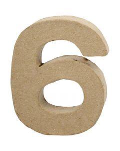 Pappsiffra, 6, H: 10 cm, B: 8,2 cm, tjocklek 1,7 cm, 1 st.