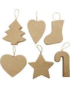 Juldekorationer, H: 7+8 cm, 6 st./ 1 förp.