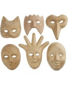 Masker av papier-maché, H: 12-21 cm, 6 st./ 1 förp.