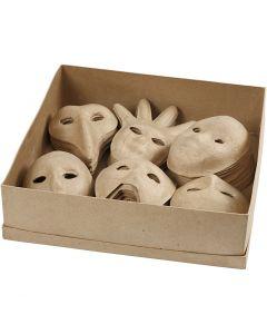 Masker av papier-maché, H: 12-21 cm, 6x10 st./ 1 förp.