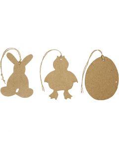 Påskdekorationer, hare, kyckling, ägg, H: 10 cm, 6 st./ 1 förp.