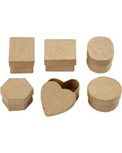 Miniaskar, H: 3 cm, Dia. 4-6 cm, 6 st./ 1 förp.