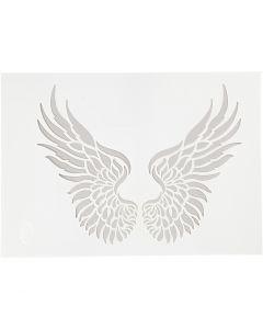 Stencil, vingar, A4, 210x297 mm, 1 st.