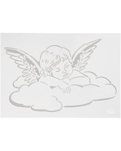 Stencil, ängel på moln, A4, 210x297 mm, 1 st.