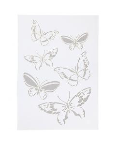 Stencil, fjäril, A4, 210x297 mm, 1 st.