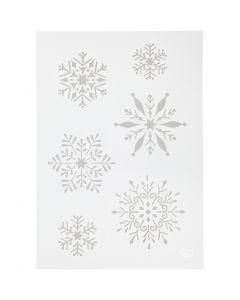 Stencil, snöflinga, A4, 210x297 mm, 1 st.