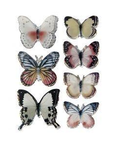 3D Stickers, fjäril, stl. 26-48 mm, mixade färger, 7 st./ 1 förp.