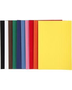 Velourpapper, A4, 210x297 mm, 140 g, mixade färger, 10x5 ark/ 1 förp.
