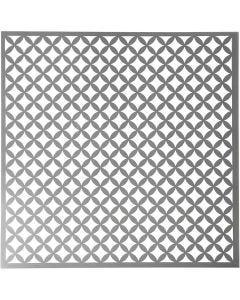 Stencil, runda, fyrkanter, stl. 30,5x30,5 cm, tjocklek 0,31 mm, 1 ark
