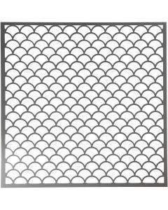 Stencil, Vågig, stl. 30,5x30,5 cm, tjocklek 0,31 mm, 1 ark