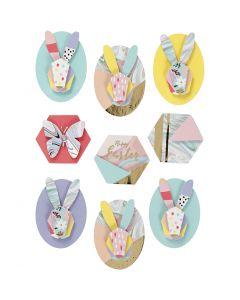 3D Stickers, kaniner, H: 30-45 mm, B: 32-35 mm, 9 st./ 1 förp.