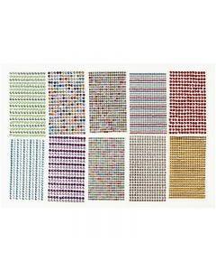 Rhinstenar stickers, Dia. 4-6 mm, 16x9,5 cm, mixade färger, 10 ark/ 1 förp.