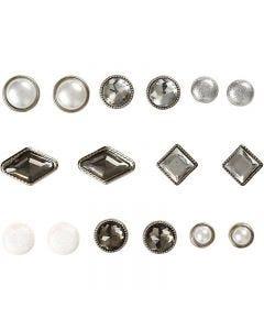 Brads, stl. 8-18 mm, vit, 16 st./ 1 förp.