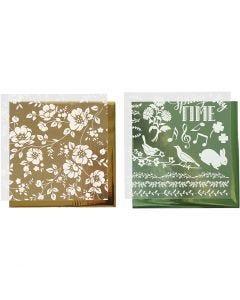 Dekorationsfolie och limark med motiv, blommor, 15x15 cm, guld, grön, 2x2 ark/ 1 förp.