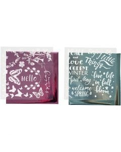 Dekorationsfolie och limark med motiv, vår, 15x15 cm, ljusblå, rosa, 2x2 ark/ 1 förp.