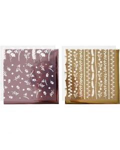 Dekorationsfolie och limark med motiv, 15x15 cm, 2x2 ark/ 1 förp.