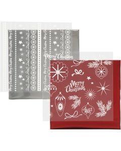 Dekorationsfolie och limark med motiv, Magisk jul, 15x15 cm, röd, silver, 2x2 ark/ 1 förp.