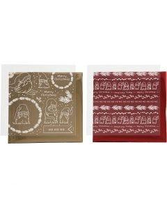 Dekorationsfolie och limark med motiv, Traditionell jul, 15x15 cm, guld, röd, 2x2 ark/ 1 förp.