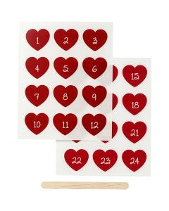 Rub-on stickers, kalendersiffror, H: 32 mm, B: 28 mm, 12,2x15,3 cm, röd, 1 förp.