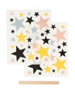Rub-on stickers, stjärnor, 12,2x15,3 cm, 1 förp.