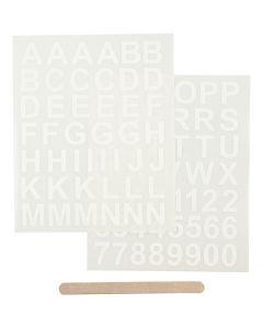 Rub-on stickers, bokstäver och siffror, 12,2x15,3 cm, vit, 1 förp.