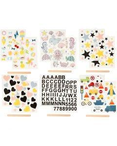 Rub-on stickers, 12,2x15,3 cm, 12 ark/ 1 förp.