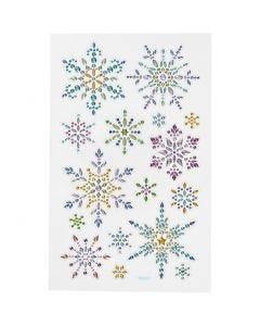 Diamond stickers, snöflingor, 10x16 cm, 1 ark