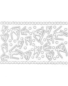 Foam Stickers, skidåkare, 9x14 cm, stl. 5-30 mm, vit, 1 ark
