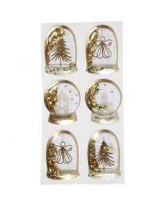 Shaker stickers, ängel, trä och hus, stl. 49x32+45x36 mm, guld, 6 st./ 1 förp.